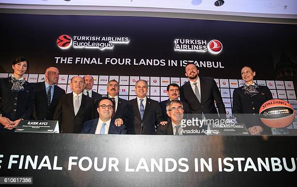 Turkish Youth and Sports Minister Akif Cagatay Kilic , Euroleague Basketball Company President Jordi Bertomeu and Turkish Airlines Chairman of the...