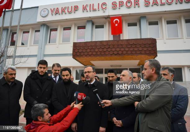 Turkish Youth and Sports Minister Mehmet Kasapoglu speaks to media after visiting those have been affected by the earthquake that hit eastern Turkish...