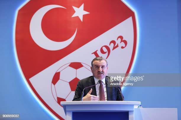Turkish Youth and Sports Minister Osman Askin Bak delivers a speech during Turkey's publicity meeting of logo and slogan for the 2024 UEFA European...