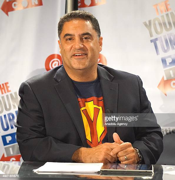 TurkishAmerican columnist Cenk Uygur is seen during a panel at Politicon the event bringing together fans of politics and entertainment at Los...