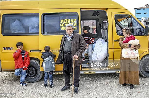 Turkmen and Arab families, fled from their homes due to Russian and Assad Regime forces attacks to Turkmen villages in Lattakia, wait for...