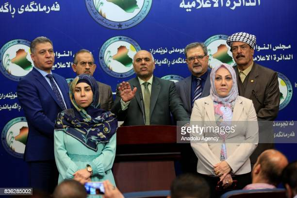 Turkmen Deputy Abbas alBayati delivers a speech during a press conference due to liberating operation from Daesh in Tel Afar at parliament building...