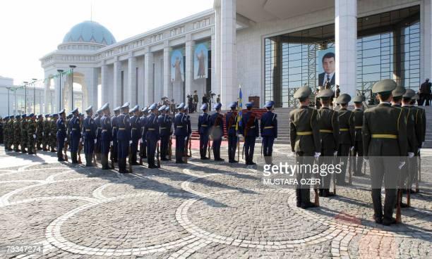 Turkmen honour guards parade during President Gurbanguly Berdymukhammedov's oath ceremony in Ashgabat, 14 February 2007. Turkmenistan's new President...