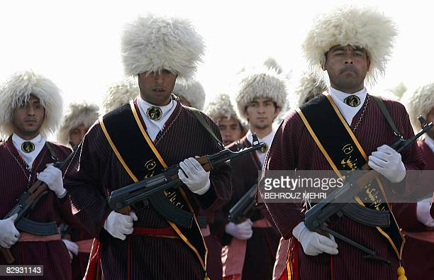 Turkmen members of the Iranian Basij militia march during a military parade in Tehran on September 21, 2008 to commemorate the 28th anniversary of...