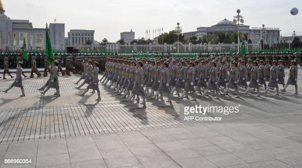 Turkmen servicewomen march during a military parade in Ashgabat on October 27 on the 26th anniversary of Turkmenistan's independence. / AFP PHOTO /...