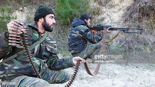 Turkmen soldiers defend their territory against Russian and Assad Regime forces at Turkmen town of Bayirbucak in Lattakia Syria on January 28 2016
