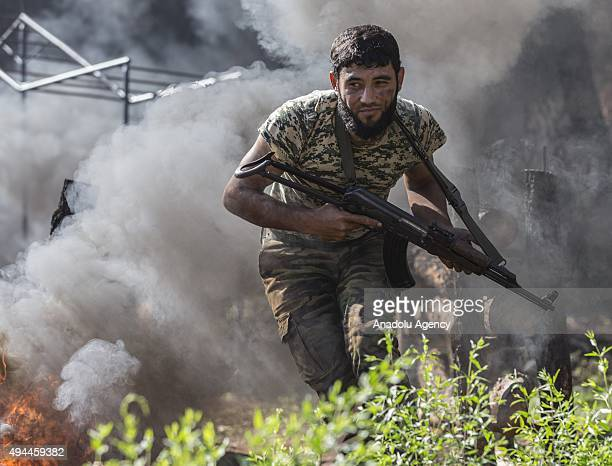 Turkmen soldiers seen in training in the Bayirbucak region in northern Latakia province of Syria on October 27 2015 Turkmen mostly live in the town...
