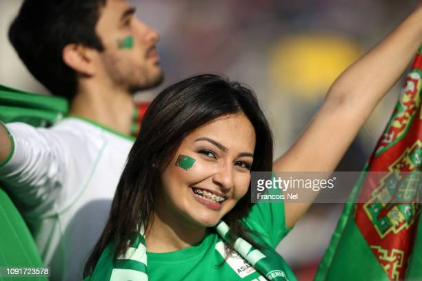 Turkmenistan fans show their support during the AFC Asian Cup Group F match between Japan and Turkmenistan at Al Nahyan Stadium on January 09, 2019...