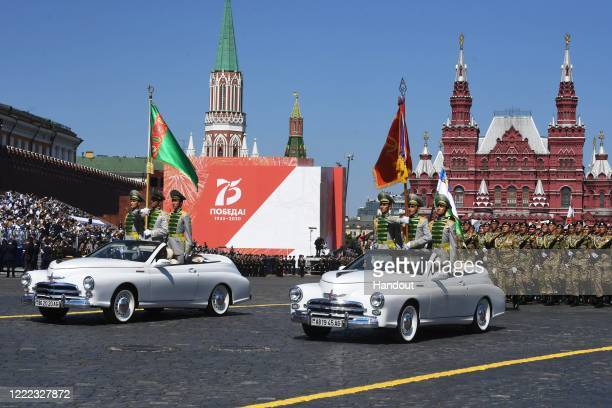 Turkmenistan servicemen march during the Victory Day military parade in Red Square marking the 75th anniversary of the victory in World War II, on...