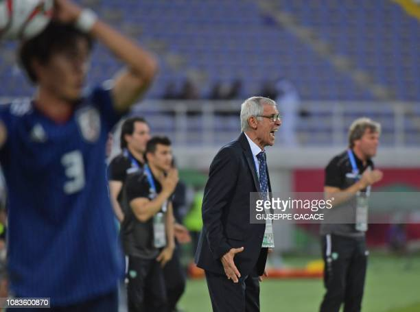 Turkmenistan's coach Hector Cuper gives his instructions during the 2019 AFC Asian Cup group F football match between Japan and Uzbekistan at the...