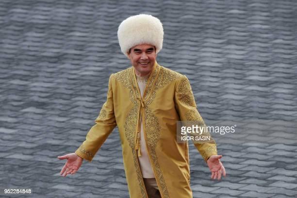 Turkmenistan's President Gurbanguly Berdymukhamedov takes part in celebrations for the Day of the Horse in Ashgabat on April 28, 2018.