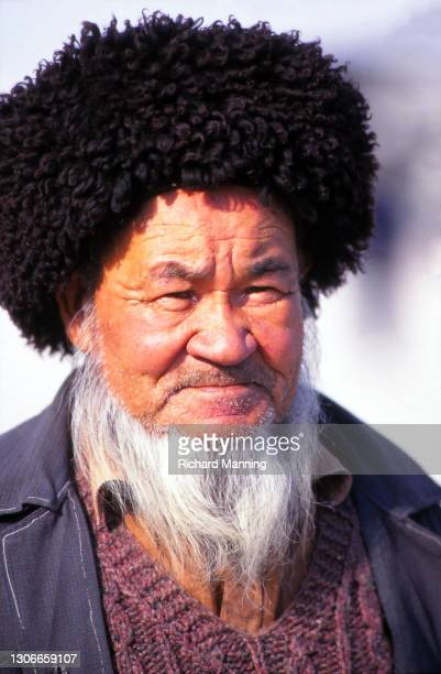 Turkoman Man at the Ashgabat Market. The Ashgabat Market is a weekly event which brings members of the Turkoman tribe together to trade camels,...