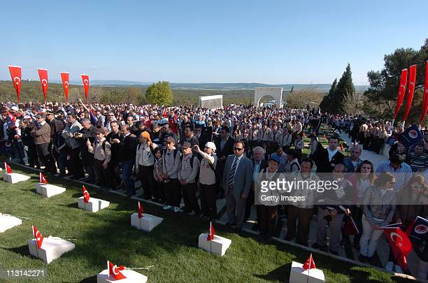 Turks Australians and New Zealanders pay their respects as ceremonies marking the 96th anniversary of the World War I campaign are held on April 24...