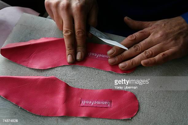 Turks produce Hanimefendi slippers in their small atelier near the Grand Bazaar November 20 2006 in Sultanahmet Istanbul Turkey Janet Chisholm...