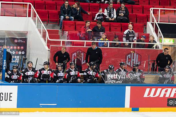 Turku bench during the Champions Hockey League Round of 32 match between TPS Turku and IFK Helsinki at Gatorade Center on October 4, 2016 in Turku,...