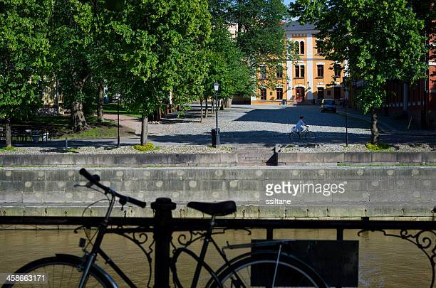 turku finland river bicycle - turku finland stock photos and pictures