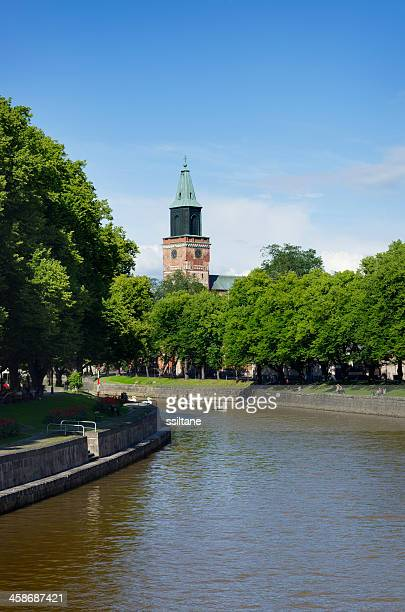 turku finland river church - turku finland stock photos and pictures