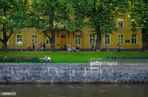 turku finland river - turku finland stock photos and pictures