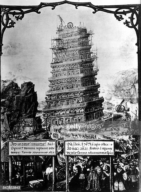 Turmbau zu BabelMiniatur eines niederländischen Meisters Anfang des 16 Jahrhunderts Reproduktion aus 'Faksimile des Brevierium Grimani'...