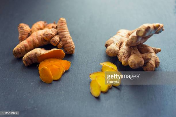 turmeric and ginger - ginger spice stock pictures, royalty-free photos & images