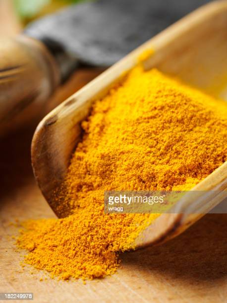 Turmeric in a Wooden Scoop