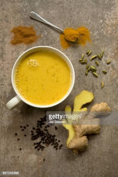 Turmeric latte and ingredients