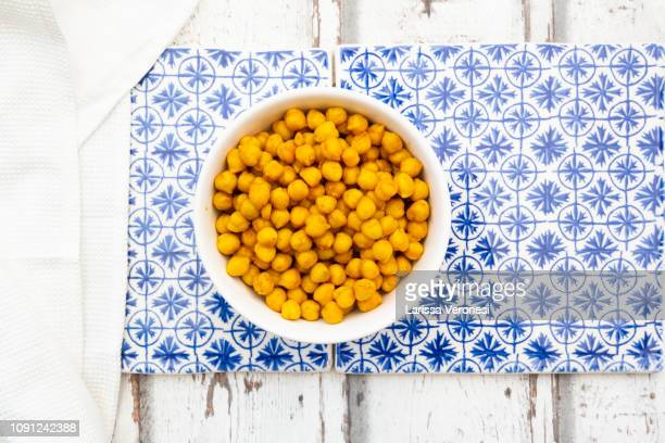 Turmeric roasted chickpeas in a bowl