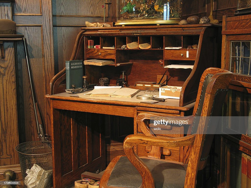 antique office table. A Turn Of The Century Old Office Table And Chair : Stock Photo Antique