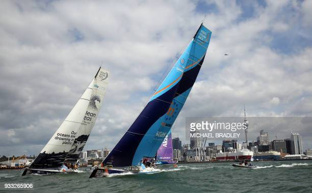 Turn The Tide on Plastic and Vestas 11th Hour Racing teams head out of Waitamata Harbour after the start of the seventh leg of the Volvo Ocean Race...