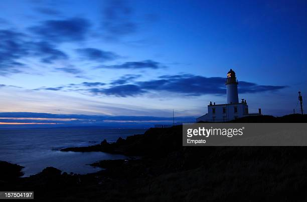 Turnberry Lighthouse on the Ayrshire coast at dusk.