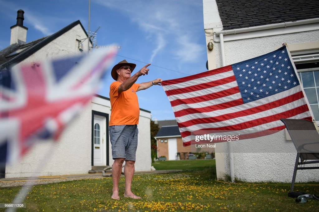 Turnberry resident Bill McGibbon explains his support for US President Donald Trump as he sits in his garden near Trump Turnberry Luxury Collection Resort during the President's first official visit to the United Kingdom on July 14, 2018 in Turnberry, Scotland. The President of the United States and First Lady, Melania Trump on their first official visit to the UK after yesterday's meetings with the Prime Minister and the Queen is in Scotland for private weekend stay at his Turnberry.