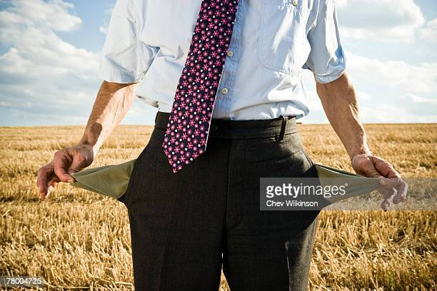 Turned-out pockets in wheat field.