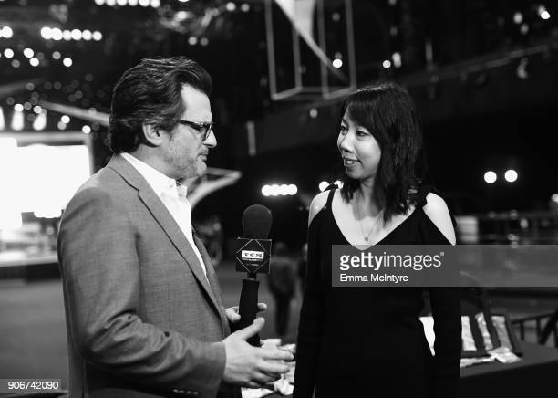 Turner Classic Movies Host Ben Mankiewicz and Post SAG Awards Gala Spokesperson Melody Chiu at the 24th Annual Screen Actors Guild Awards Behind The...