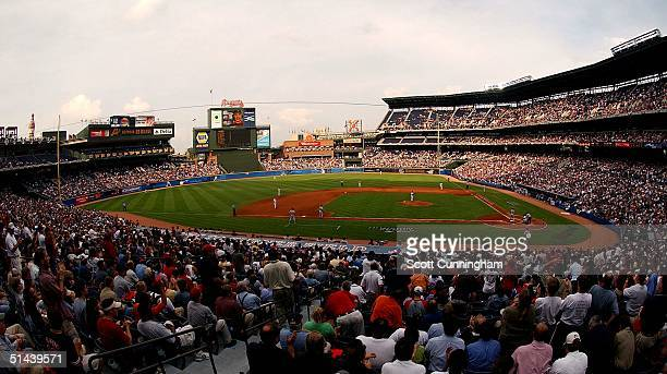 Turner Field hosts Game two of the National League Divisional Series between the Houston Astros and the Atlanta Braves on October 7 2004 in Atlanta...