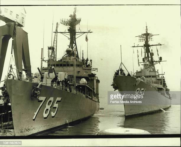 Turner Joy coming along side the HendersonThe US destroyer Turner Joy berthed at Carden Island to day beside the US Destroyer Henderson for a 3 day...