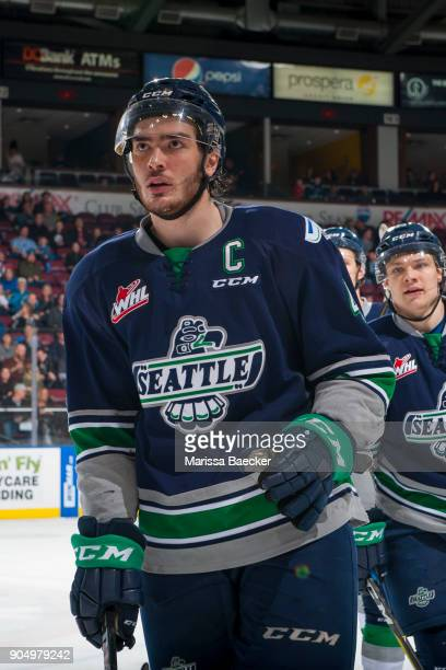 Turner Ottenbreit of the Seattle Thunderbirds skates to the bench to celebrate a goal against the Kelowna Rockets at Prospera Place on January 5 2017...