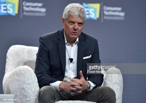 Turner President David Levy speaks during a press event at CES 2019 at the Aria Resort Casino on January 9 2019 in Las Vegas Nevada CES the world's...
