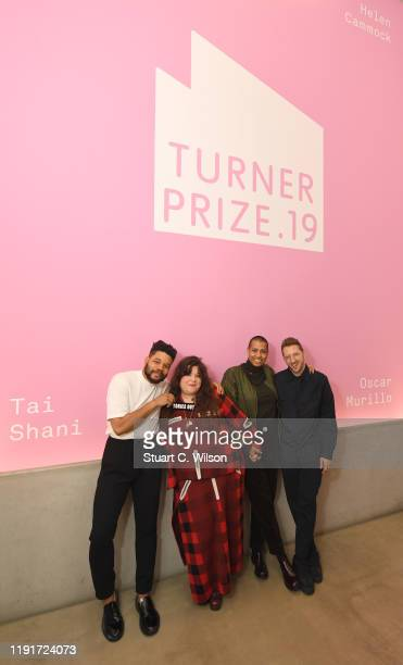 Turner Prize 2019 nominees Oscar Murillo Tai Shani Helen Cammock and Lawrence Abu Hamdan pose for a portrait ahead of the Evening Drinks Reception...