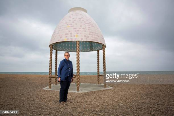 Turner Prize nominated Lubaina Himid MBE with her Jelly Mould Pavilion on Folkestones sea front as part of the 2017 Folkestone Triennial Folkestone...