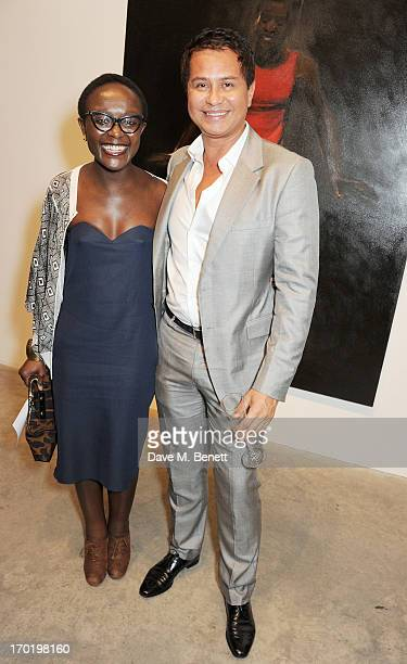 Turner Prize nominee Yynette YiadomBoakye and cocurator of the exhibition Cinematic Visions Glenn Scott Wright attend the Bottletop/Full Circle 2013...