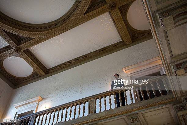 Turner Prize winning artist Richard Wright poses beneath the ceiling of Queen's House Royal Museum Greenwich on September 30 2016 in London England...
