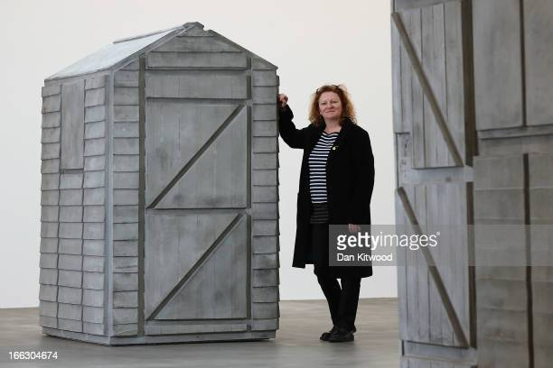 Turner Prize winning British artist Rachel Whiteread poses next to a piece of work from her new show 'Detached' on April 11 2013 in London England...