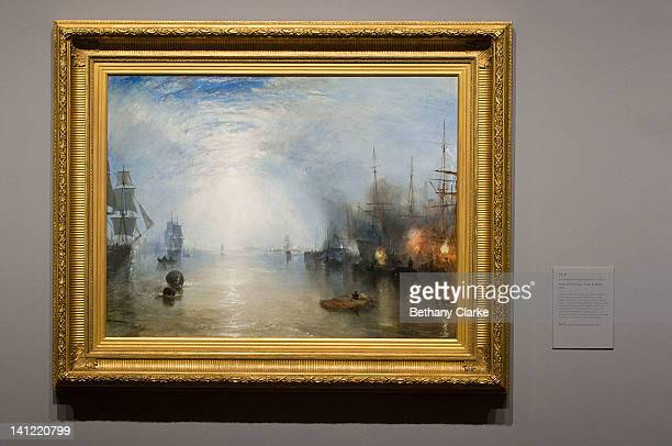 Turner's 'Keelmen Heaving in Coals by Night' is displayed as the National Gallery unviels their new William Turner exhibition on March 13 2012 in...
