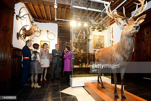Turnhout's mayor Francis Stijnen Princess Mathilde of Belgium Crown Prince Philippe of Belgium and Antwerp province governor Cathy Berx chat close to...