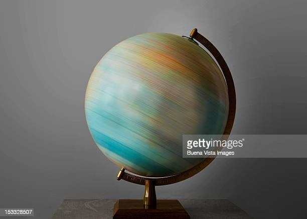 Turning globe.