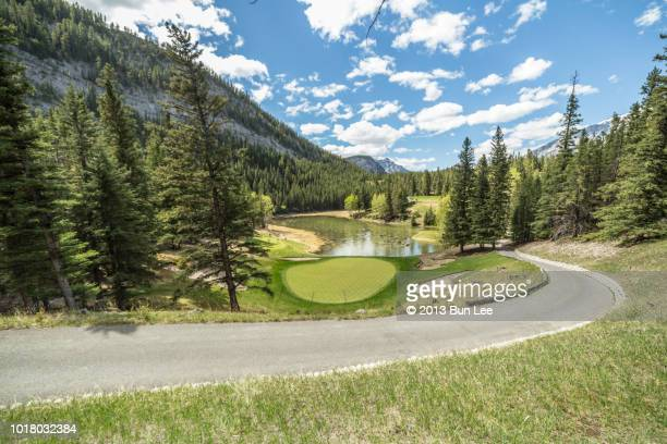 turning road ahead in the golf course - banff springs golf course stock photos and pictures