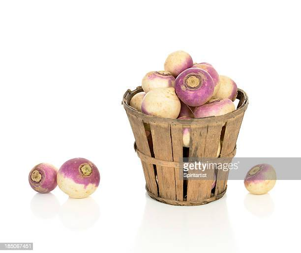 turnips in a rustic basket - turnip stock pictures, royalty-free photos & images