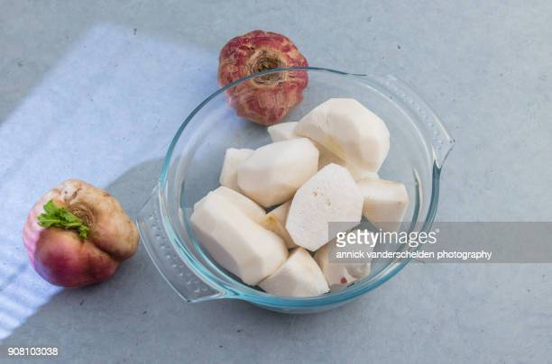 turnips. - brassica rapa stock photos and pictures