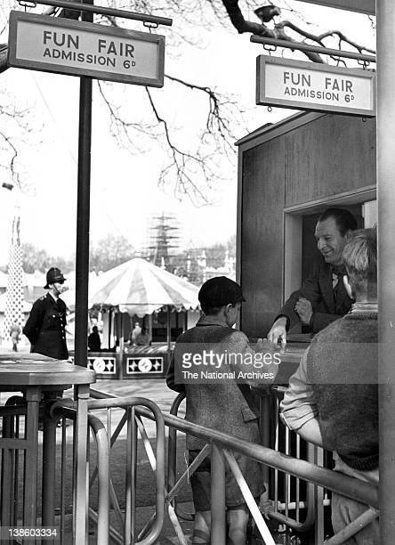 Turnstile admission gates to Festival Gardens Funfair Battersea Park Exhibition of Britain 1951