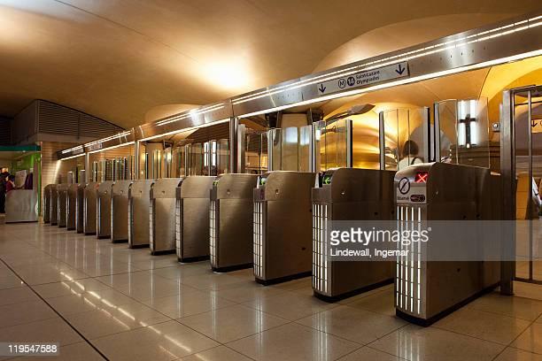 Turnstiles at subway station